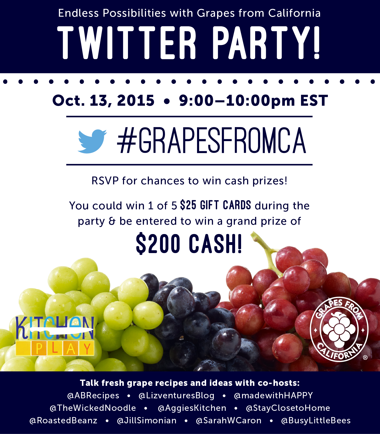 Are you ready to chat up *grape* recipes and fun prizes? #GrapesFromCA [AD]