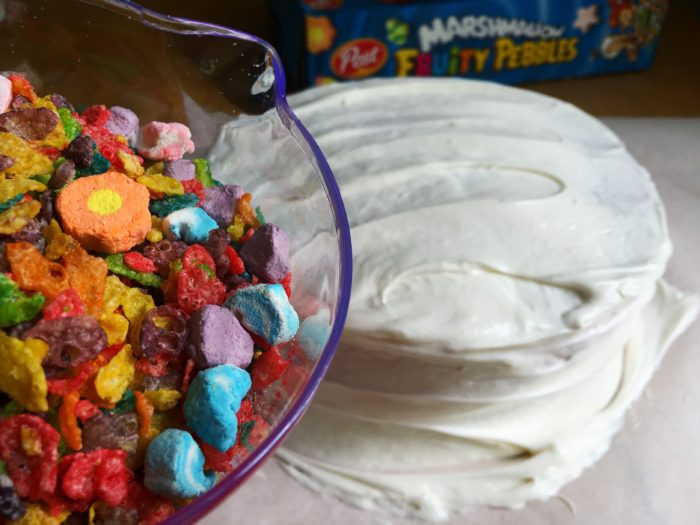 Easy Fruity Pebbles Cereal Frosting Tip © www.roastedbeanz.com #CerealAnytime [AD] #CollectiveBias #shop