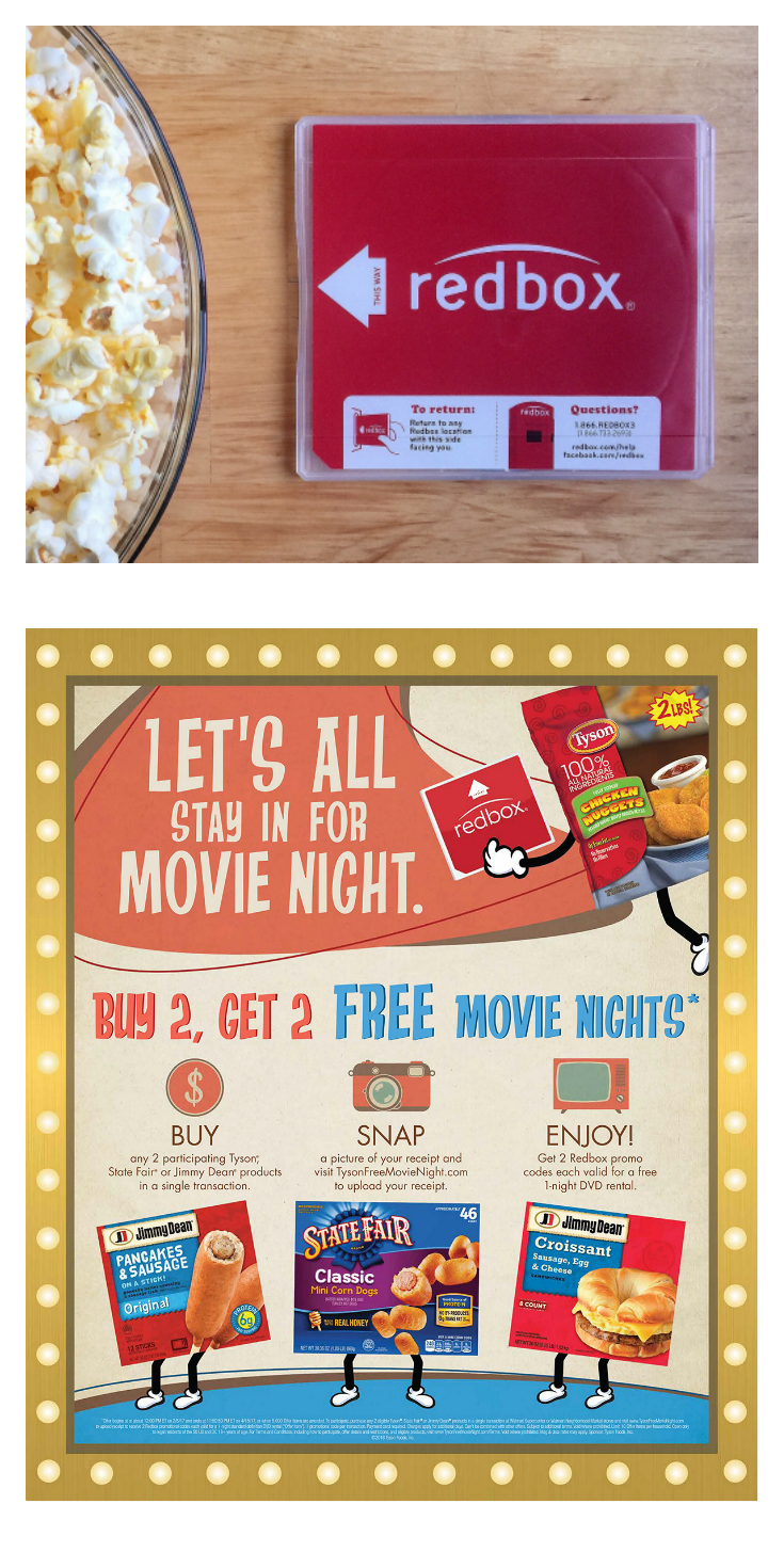 Now who's ready for free movie nights and great tasting treats? Then get set to stock the freezer and gather up the kids, because this new offer from Tyson® Foods and Redbox® at Walmart is going to make your day! 
